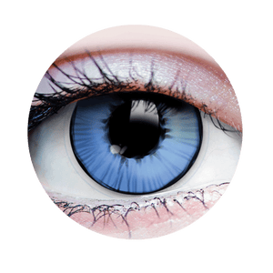 PRIMAL® Capitain Super Hero blue and black Halloween Costume Contact Lenses- close up