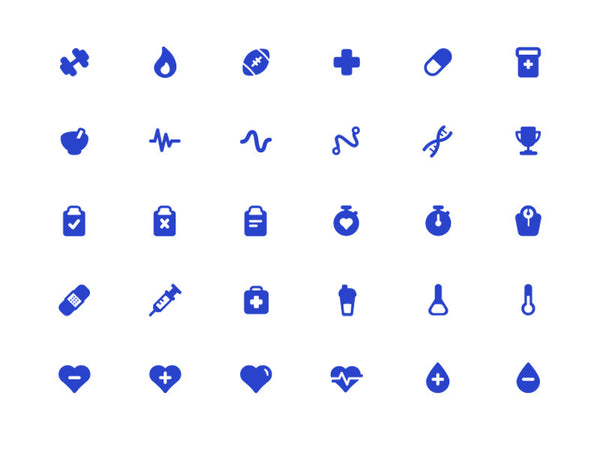 30 Health & Fitness Icon Set