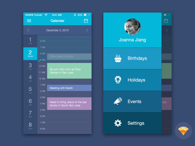 Calendar Mobile UI Kit