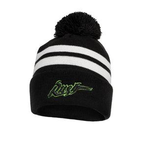 NE - Top Stripe Pom Pom Knit Toque - Blk/Wht