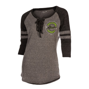 5th & O - Womens Tri-Blend Lace-Up 3/4 Slv T