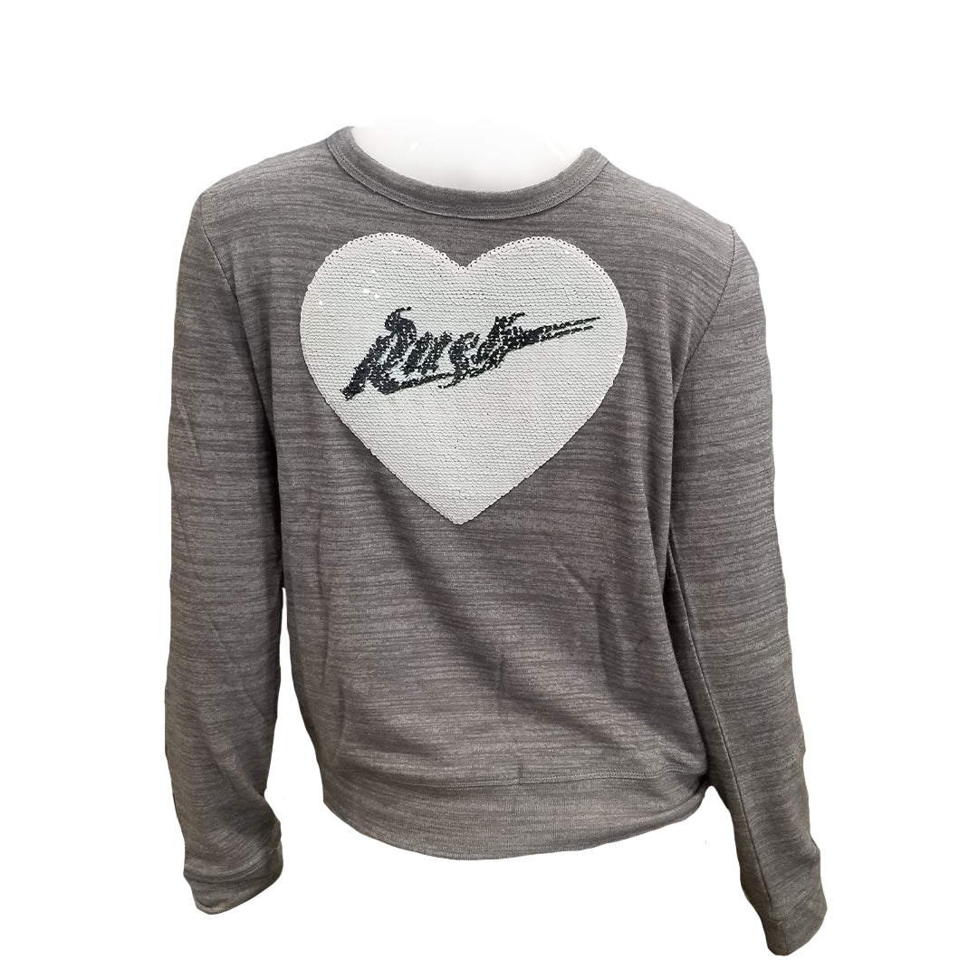 5th & O - Girls Flip Sequin Heart Crewneck