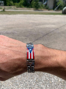 Stainless Steel Dual Chain Puerto Rico Flag Bracelet
