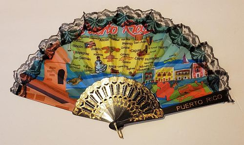 PUERTO RICO MAP HAND FAN