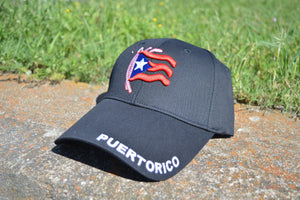 Black Puerto Rico Hat - Embroidered