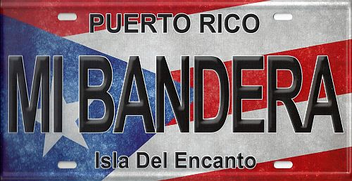 "PUERTO RICO ""MI BANDERA"" FULL COLOR CAR LICENSE PLATE"