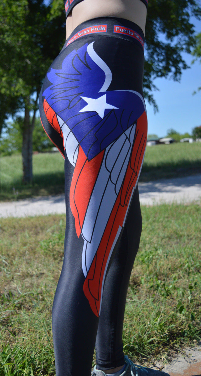 Angel Wings Sports Leggings (Summer) - Puerto Rican Pride