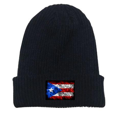 Black Beanie With Flag - Puerto Rican Pride