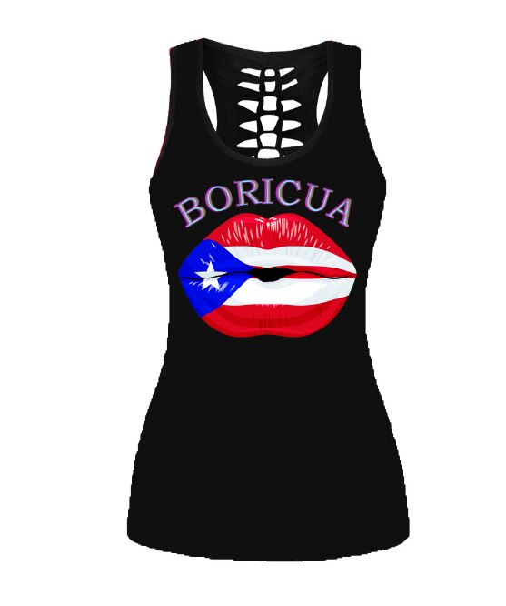 Boricua Lips Tank W/Webbed Back