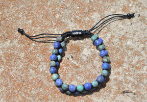 Dual Row Natural Stone Bracelet (Blue or Green)