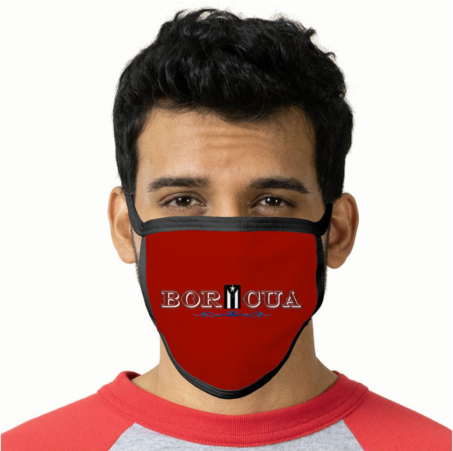 Boricua Black Flag Red Face Mask
