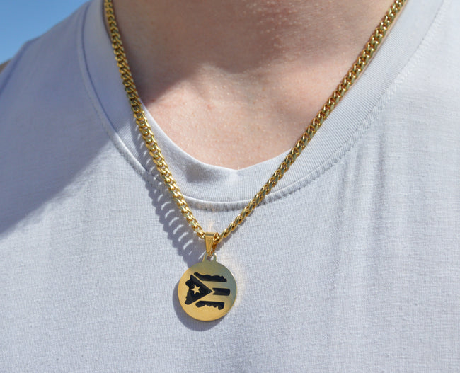 "22"" GoldCuban Chain Flag Necklace"
