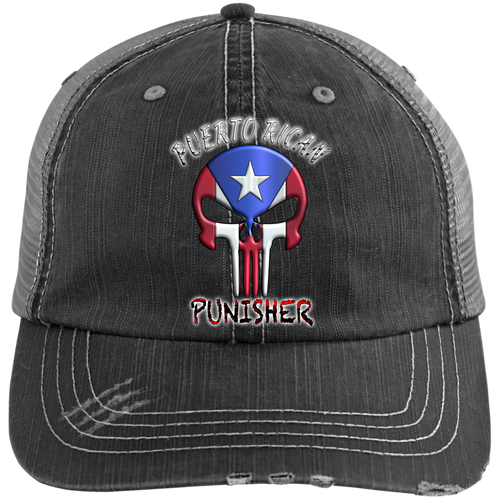 Punisher Distressed Unstructured Trucker Cap