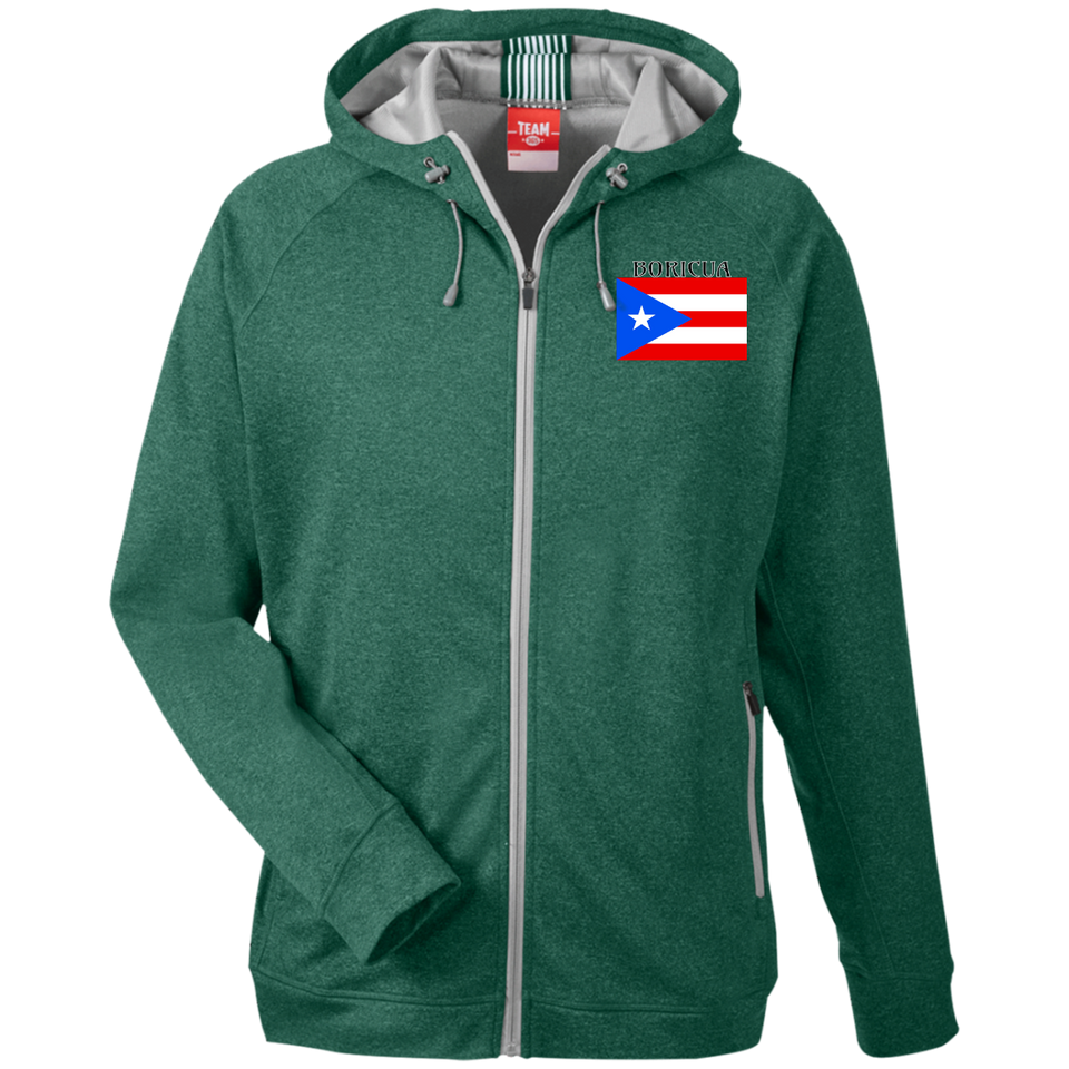 Boricua Men's Heathered Performance Hooded Jacket