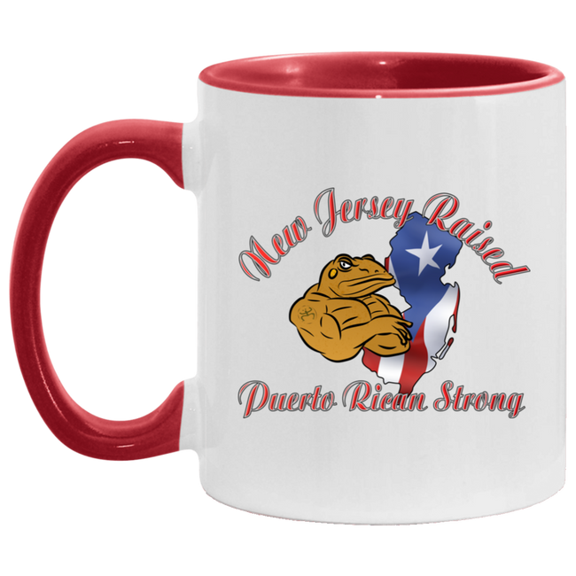 New Jersey Raised PR Strong 11OZ Accent Mug - Puerto Rican Pride