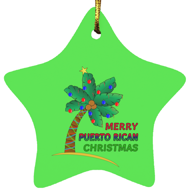Merry PR Christmas Star Ornament - Puerto Rican Pride