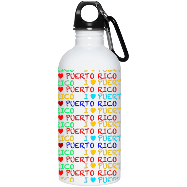 I ❤ PR 20 oz. Stainless Steel Water Bottle - Puerto Rican Pride