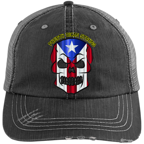 PR STRONG SKULL Distressed Unstructured Trucker Cap