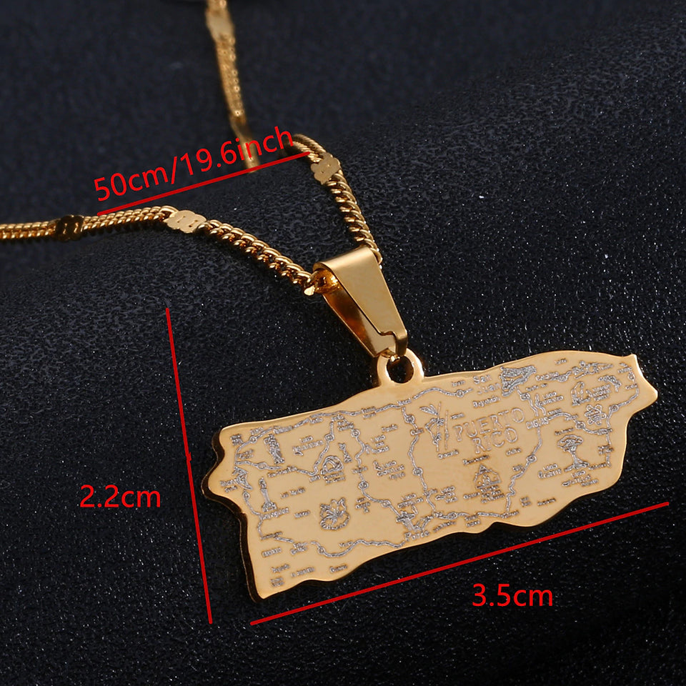 Gold Map Detail Necklace