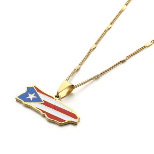 Map-Flag Necklace