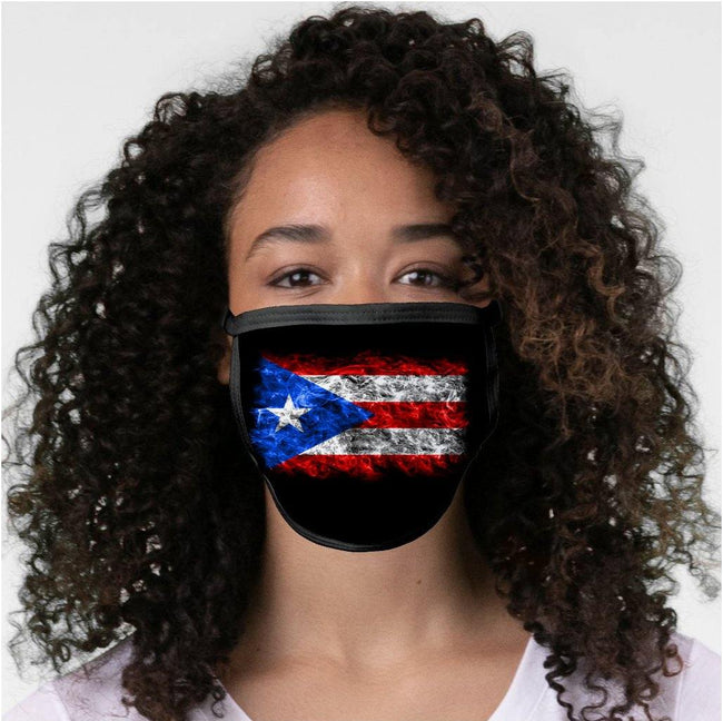 Flaming Flag Face Mask - Puerto Rican Pride