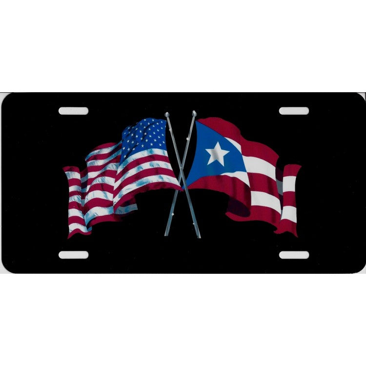 USA And Puerto Rico Flags License Plate