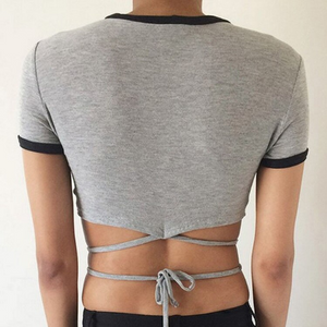 PR Lips Bandages Crossing Summer Crop Top