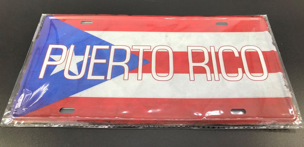 PR Flag License Plate