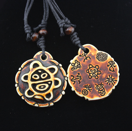 Turtle Taino Symbol Pendant Necklace