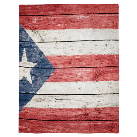 Puerto Rico Flag Wood Flannel Blanket