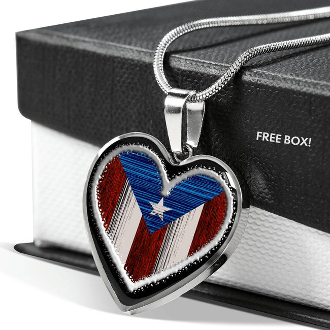 Textured Heart Flag Necklace