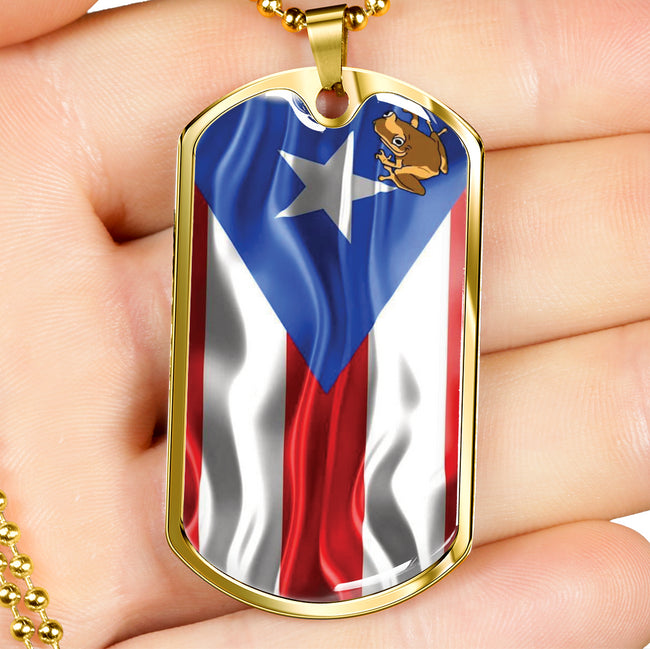 Coqui Flag Dog Tag Necklace