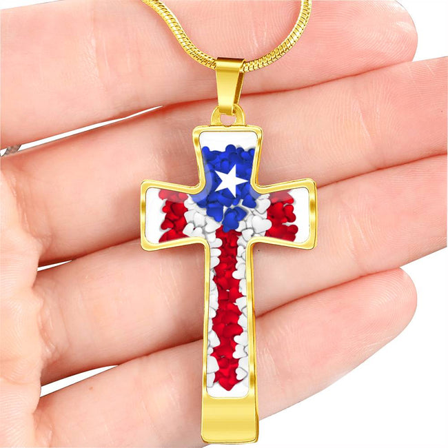 God and Country Hearts Cross Necklace