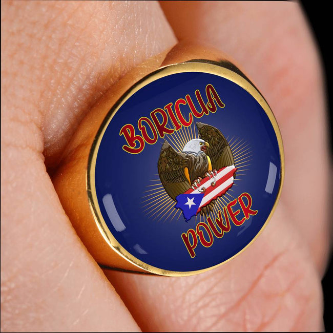 Boricua Power Eagle Ring