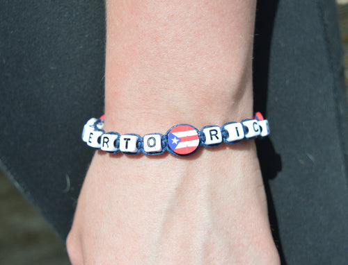Cube Bracelet With Flag Beads
