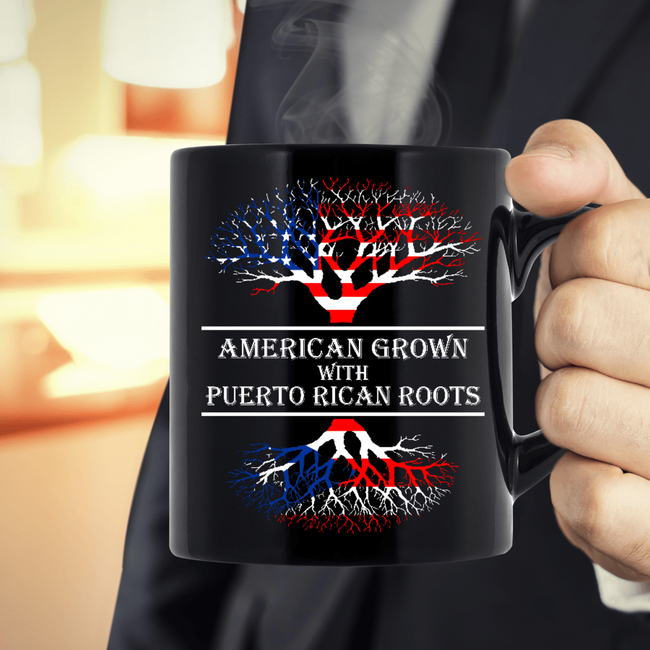 American grown W Puerto Rican Roots 11 oz. Black Mug