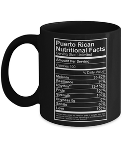 Coffee Mug - Puerto Rican Nutritional Facts