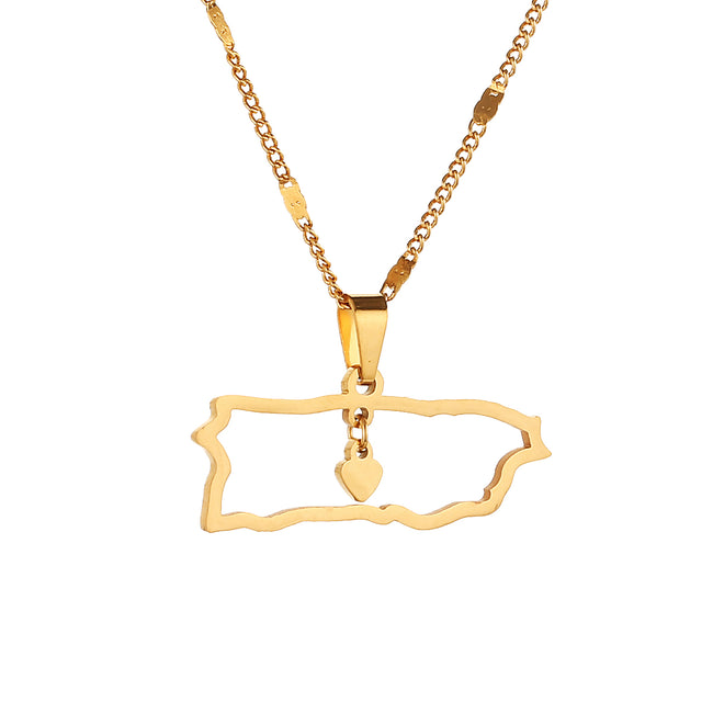 Gold Map Heart Necklace