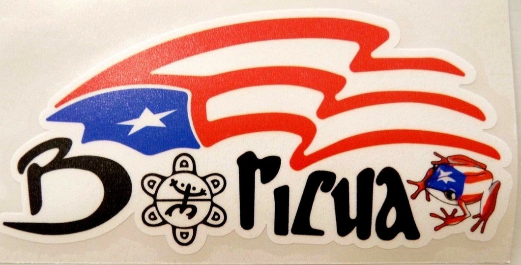 Puerto Rico Boricua with flag Decal Sticker and Coquí