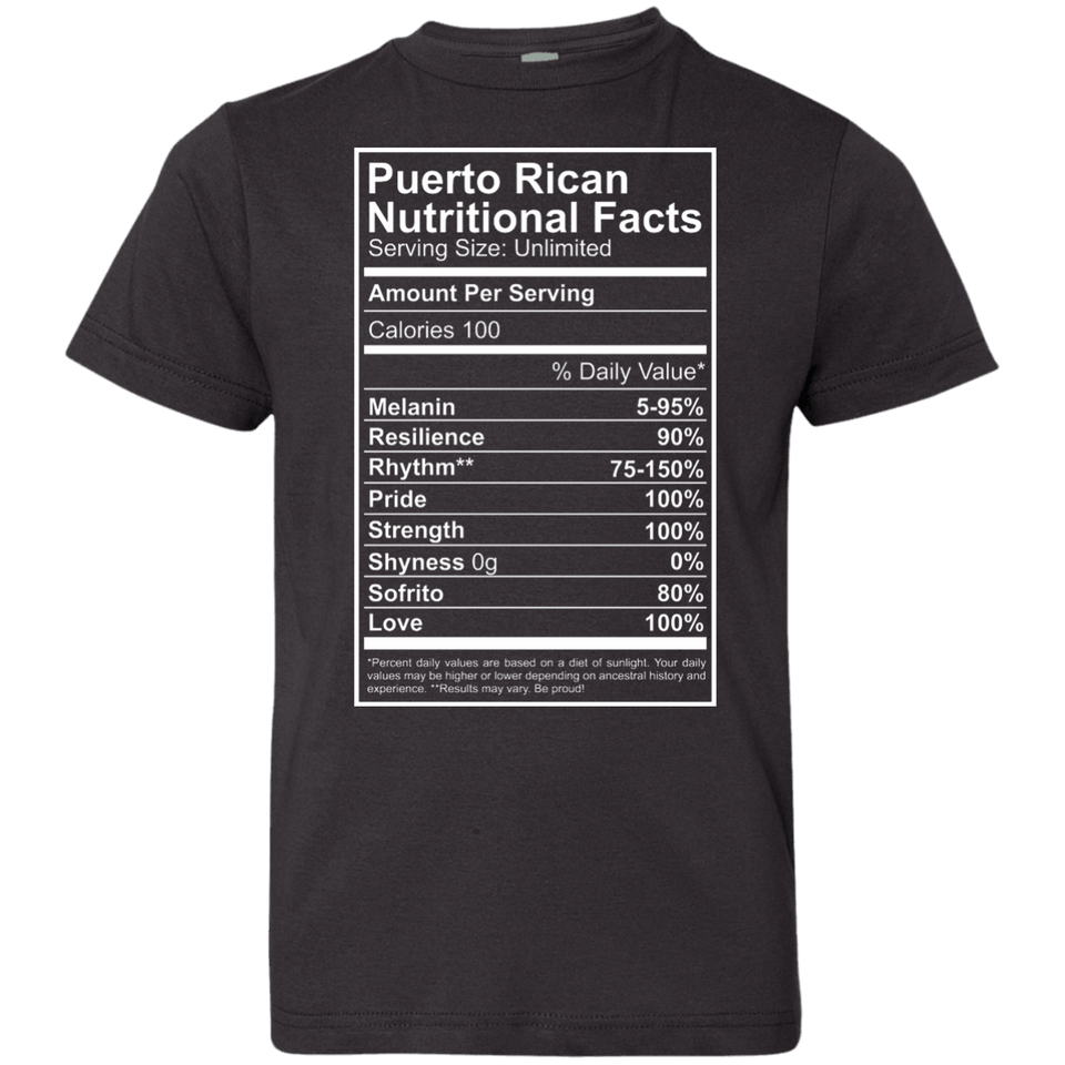 Shirt - Nutritional Facts - Youth Jersey Tee