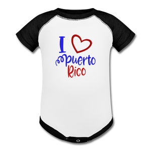 I Love PR Baseball Baby Onesie - white/black