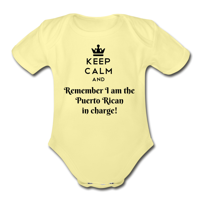 Keep Calm Organic Short Sleeve Baby Onesie - washed yellow