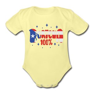 100% Boricua Organic Short Sleeve Baby Onesie - washed yellow