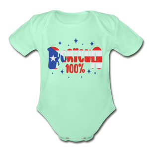 100% Boricua Organic Short Sleeve Baby Onesie - light mint