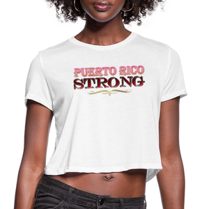 PR STrong Women's Cropped T-Shirt - white
