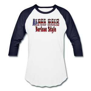 ALPHA MALE BORICUA STYLE Baseball T-Shirt - white/navy