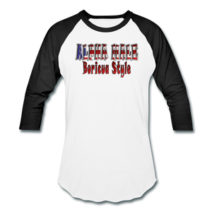 ALPHA MALE BORICUA STYLE Baseball T-Shirt - white/black
