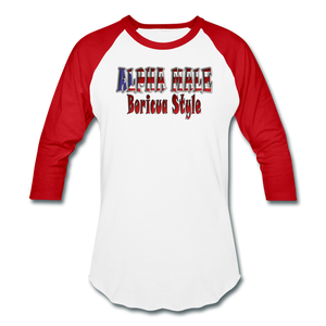 ALPHA MALE BORICUA STYLE Baseball T-Shirt - white/red