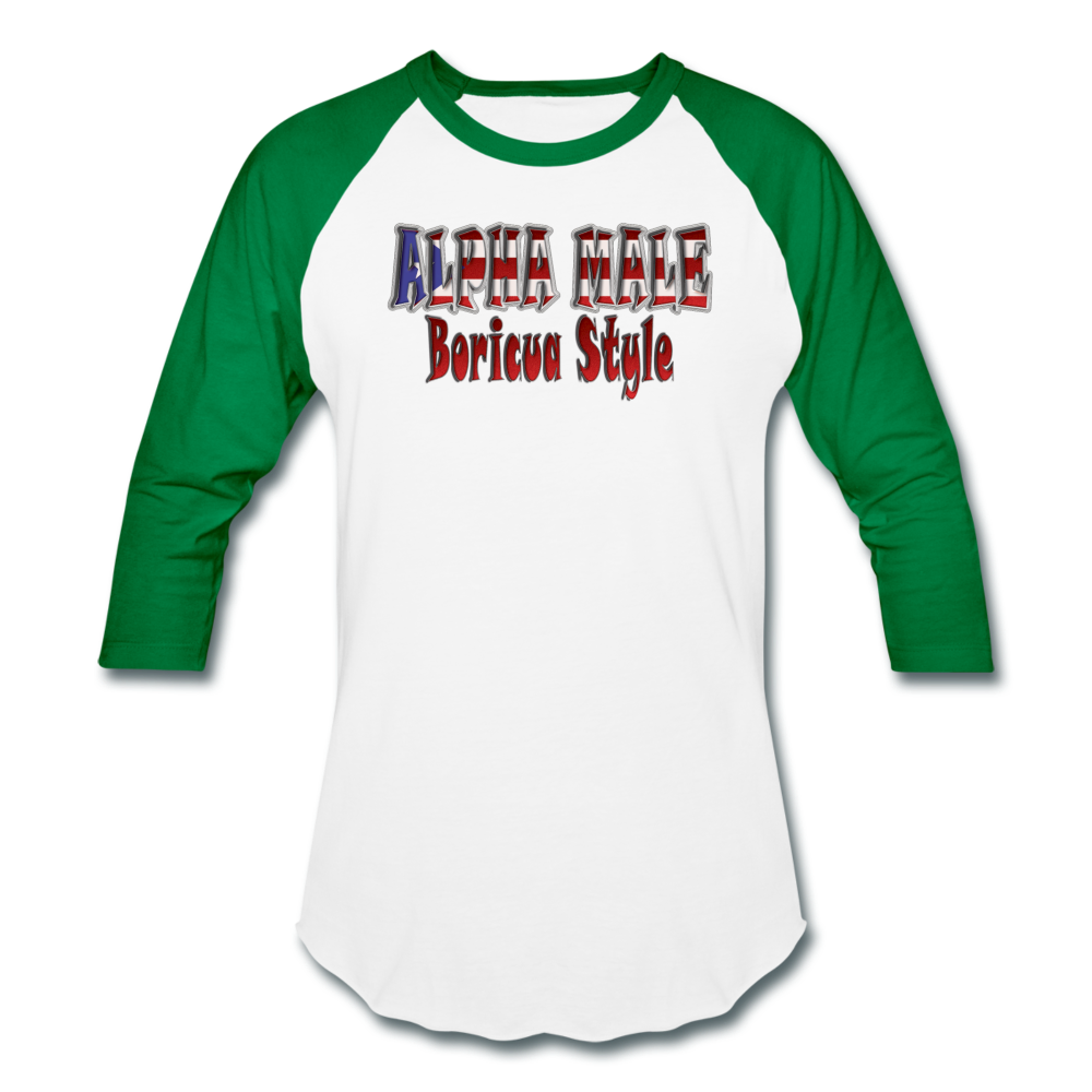 ALPHA MALE BORICUA STYLE Baseball T-Shirt - white/kelly green