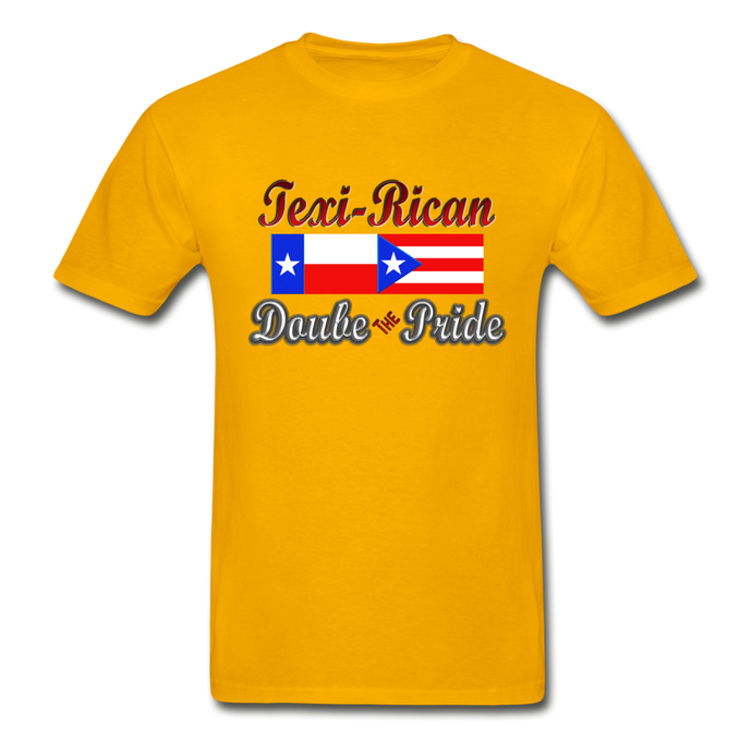 Texi-Rican 2x Pride Hanes Adult Tagless T-Shirt - gold